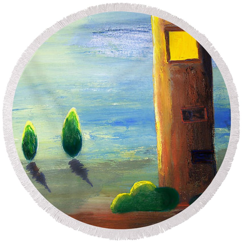Drawing Round Beach Towel featuring the painting Lonely Tower by Nirdesha Munasinghe