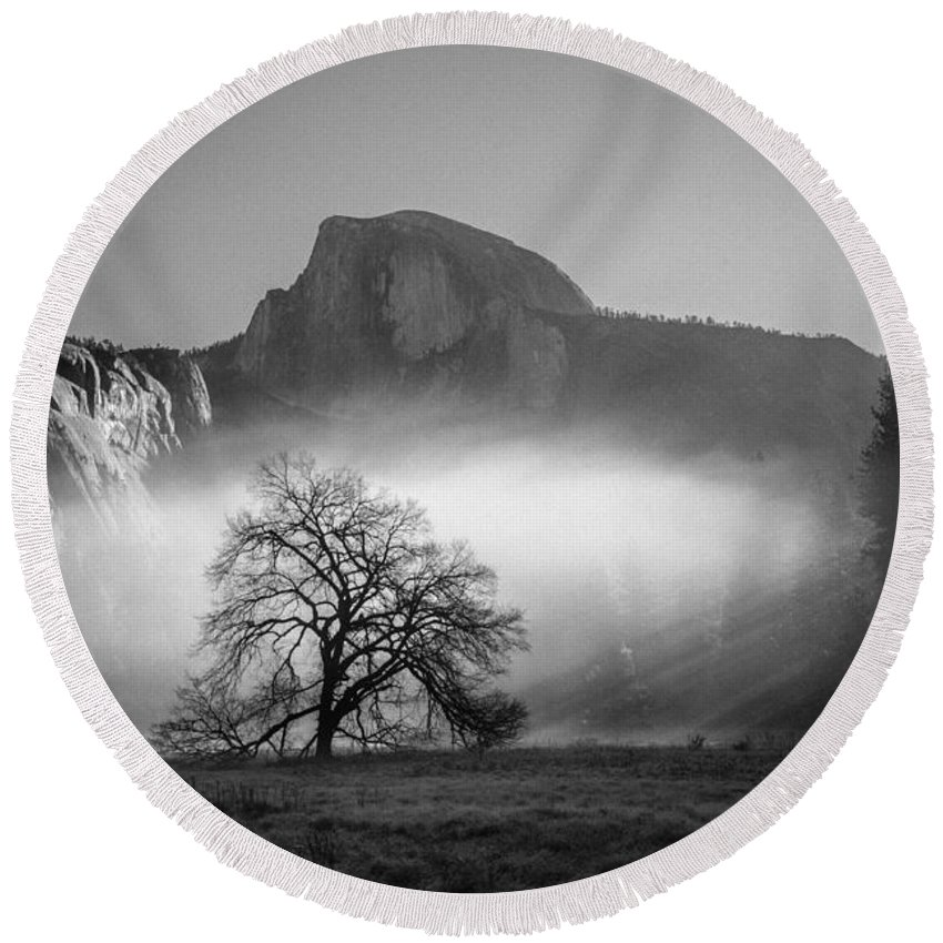 Tree Round Beach Towel featuring the photograph Lonely World by Misty Tienken