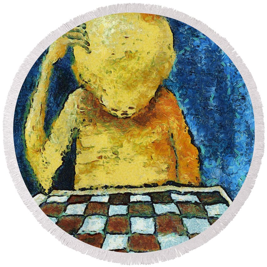 Alone Round Beach Towel featuring the digital art Lonesome Chess Player by Michal Boubin
