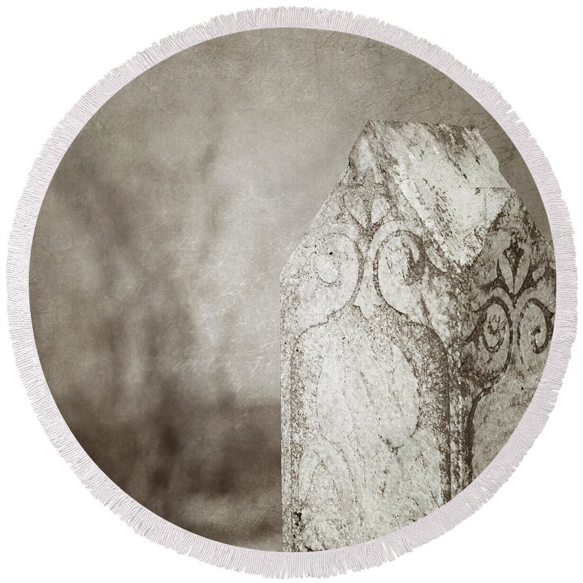 Cemetery Round Beach Towel featuring the photograph Long Gone by Trish Mistric