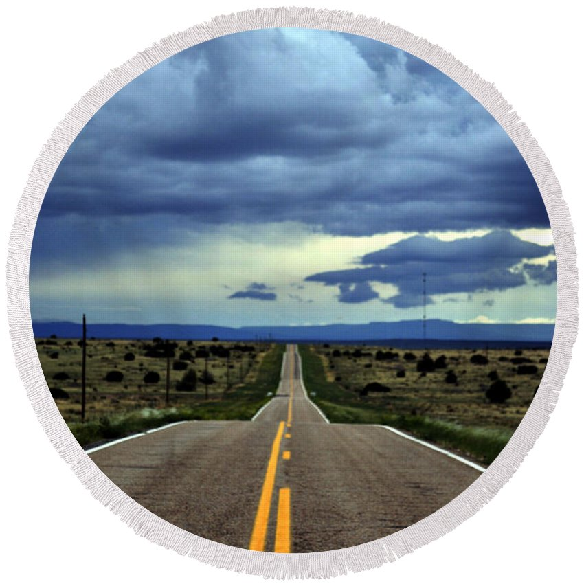 Landscape Round Beach Towel featuring the photograph Long Highway by Pam Romjue