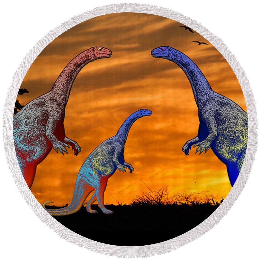 Dinosaur Reptile Prehistoric Pen+and+ink Watercolor Fantasy Imaginary Round Beach Towel featuring the painting Long Necked Long Tailed Family Of Dinosaurs At Sunset by Elaine Plesser