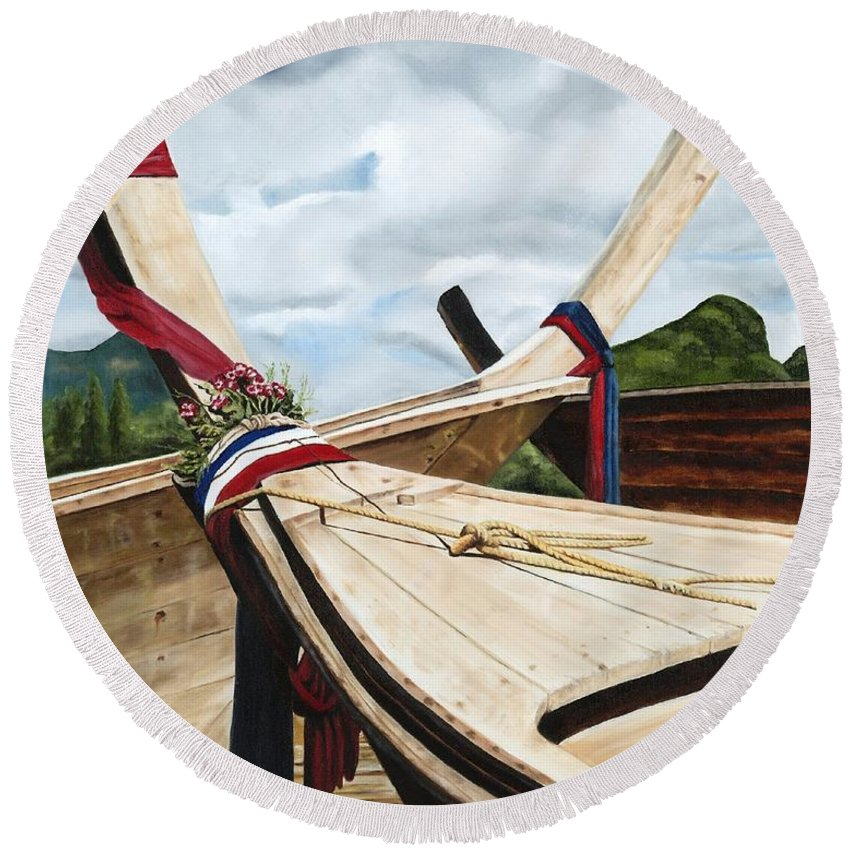 Art Round Beach Towel featuring the painting Long Tail Boats Of Krabi by Mary Rogers