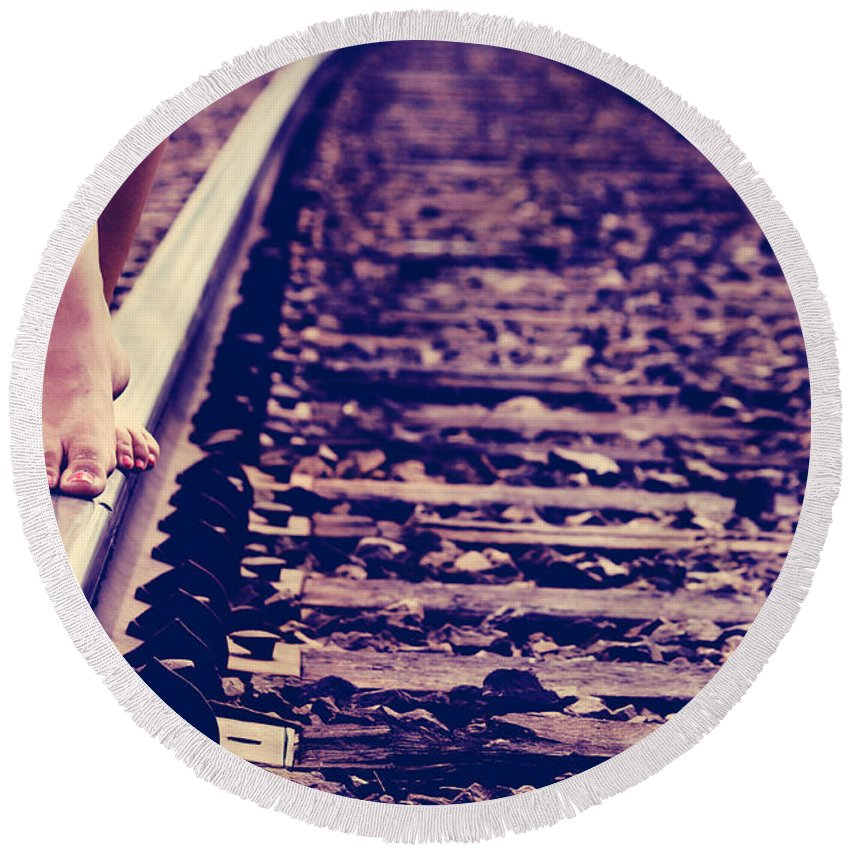 Train Tracks Round Beach Towel featuring the photograph Long Tracks by The Artist Project