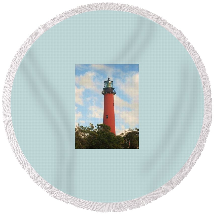 Jupiter Lighthouse Round Beach Towel featuring the photograph Look Out by Catie Canetti
