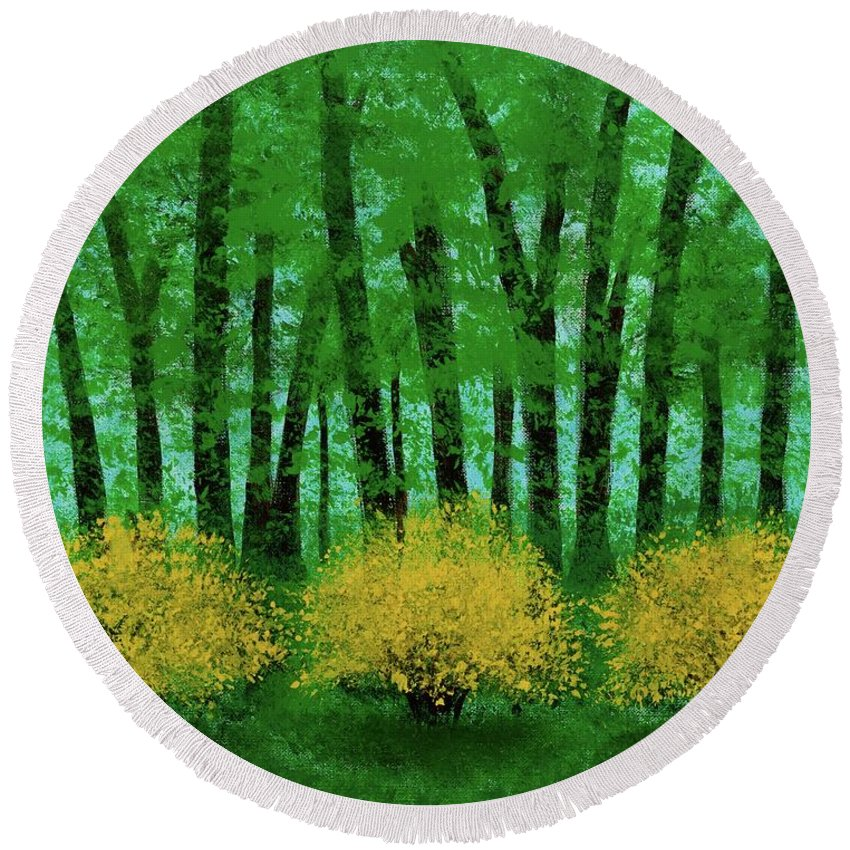 Landscape Round Beach Towel featuring the painting Lookin' Out My Back Door by Hillary Binder-Klein