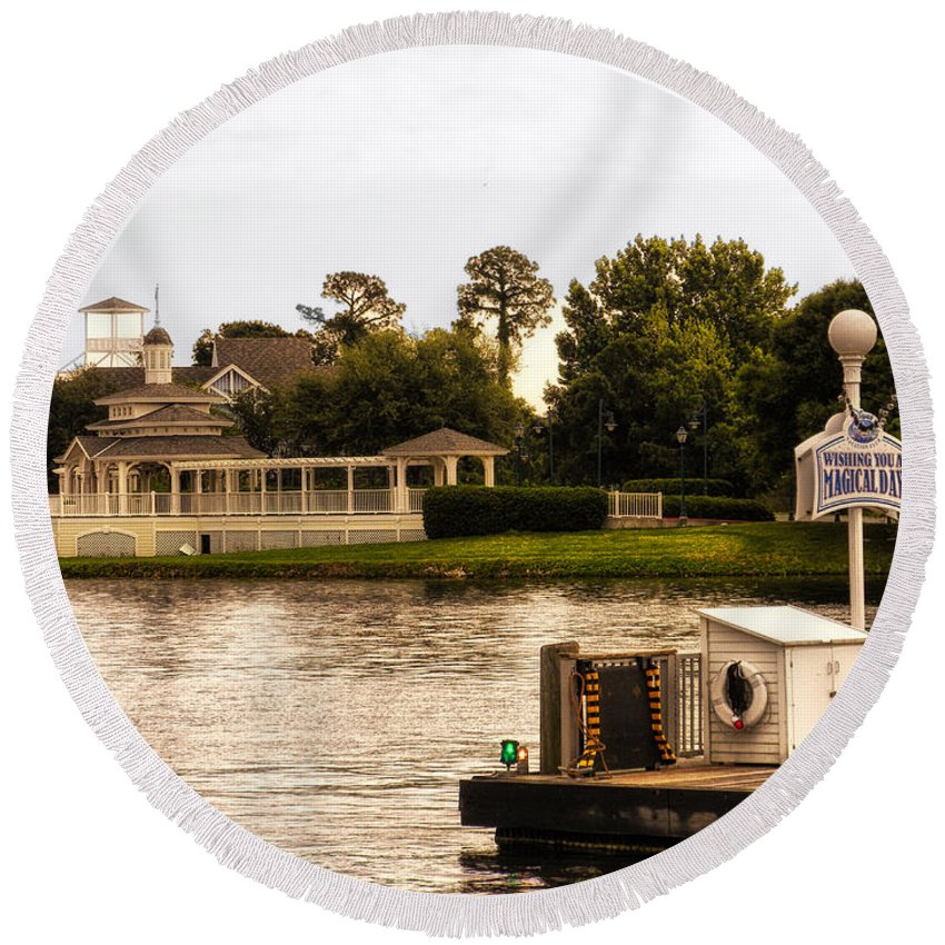Epcot Round Beach Towel featuring the photograph Looking At The Boardwalk Gazebo Walt Disney World by Thomas Woolworth
