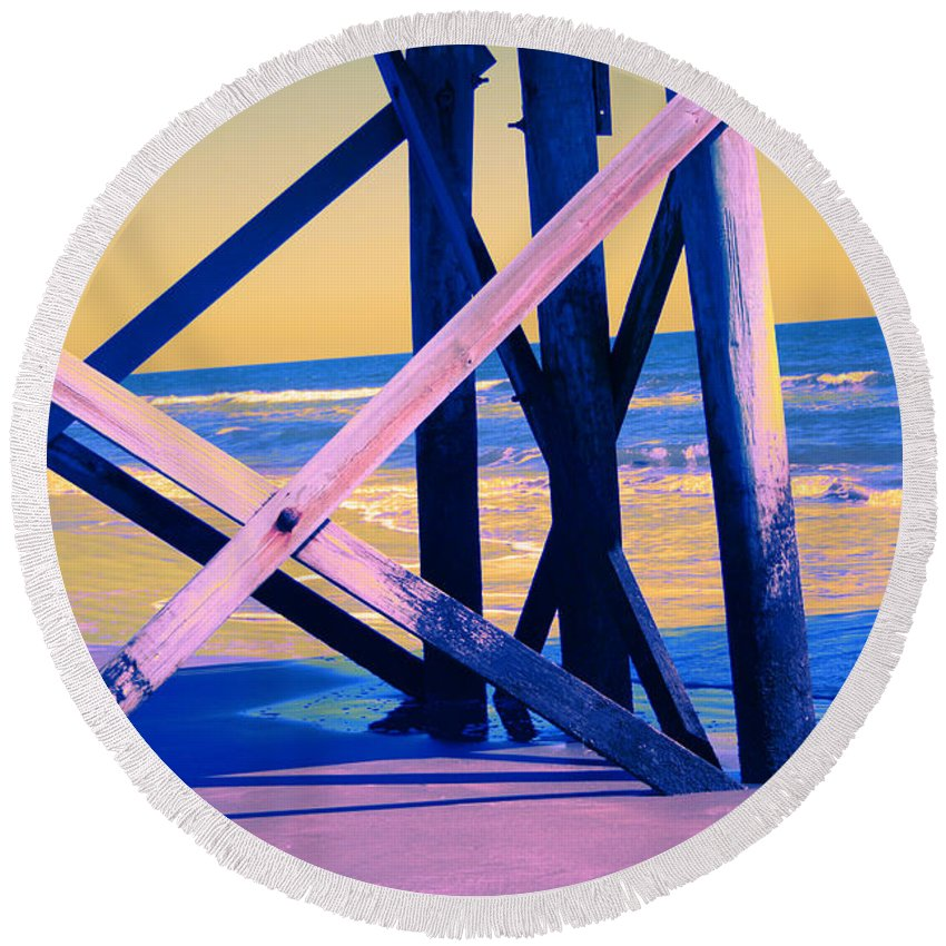 Round Beach Towel featuring the photograph looking On - Neon by Jamie Lynn