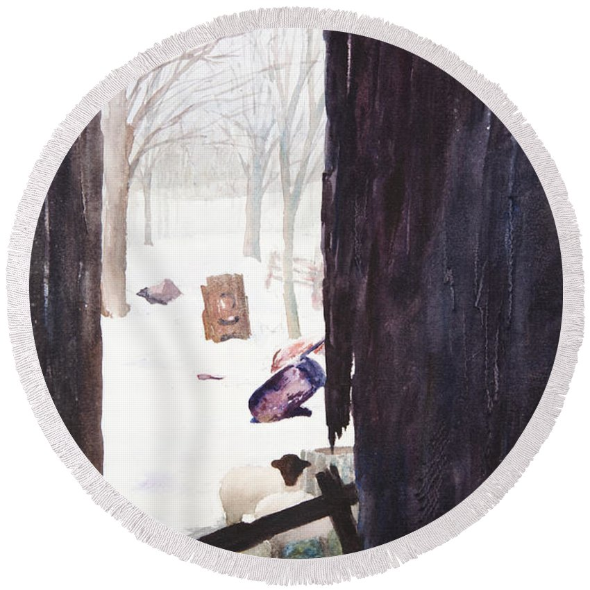 Landscape Round Beach Towel featuring the painting Looking Out Looking In by Rachel Christine Nowicki