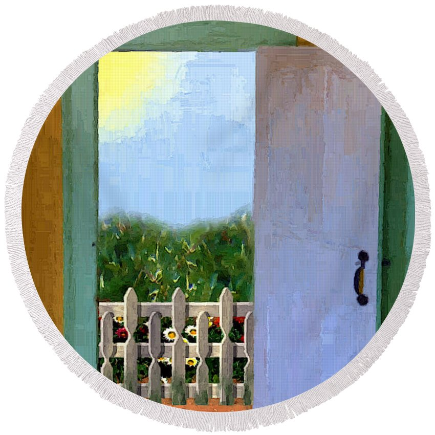 Door Round Beach Towel featuring the painting Looking Out My Back Door by RC DeWinter