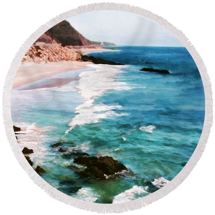 Ocean Round Beach Towel featuring the painting Looking South On The Northern California Coast by Elaine Plesser