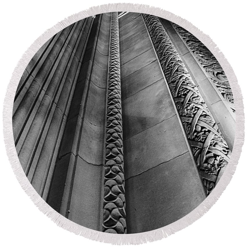 B&w Round Beach Towel featuring the photograph Looking Up by Sandra Parlow