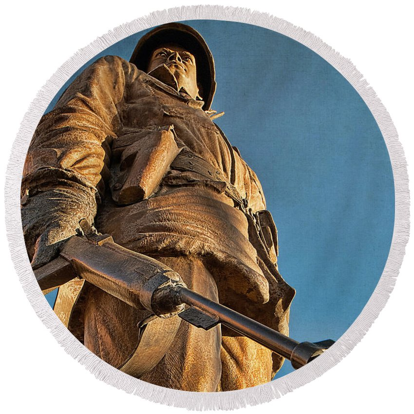 Home Of Heroes Round Beach Towel featuring the photograph Looking Up To A Hero In Pueblo Colorado by Priscilla Burgers