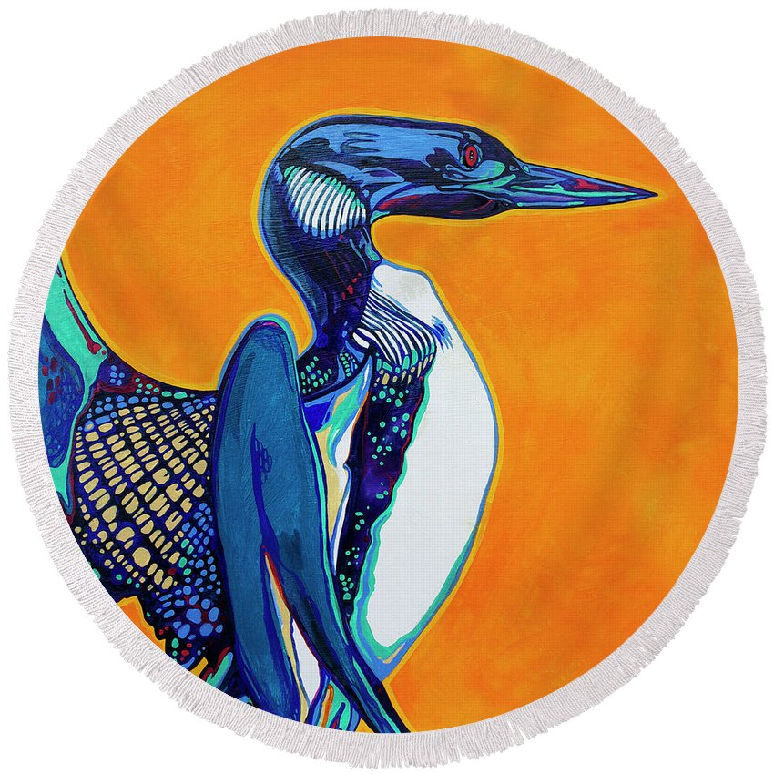 Loon Round Beach Towel featuring the painting Loon by Derrick Higgins