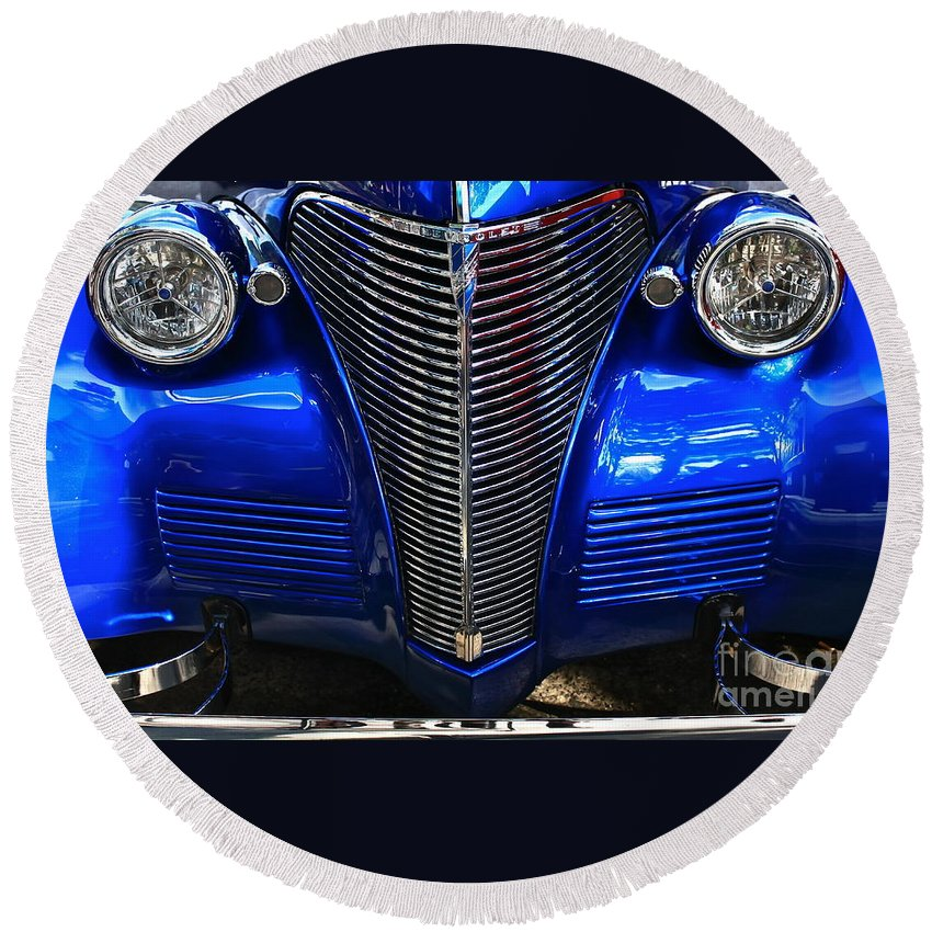 Chrome Round Beach Towel featuring the photograph 1930's Chevy Custom by Linda Bianic