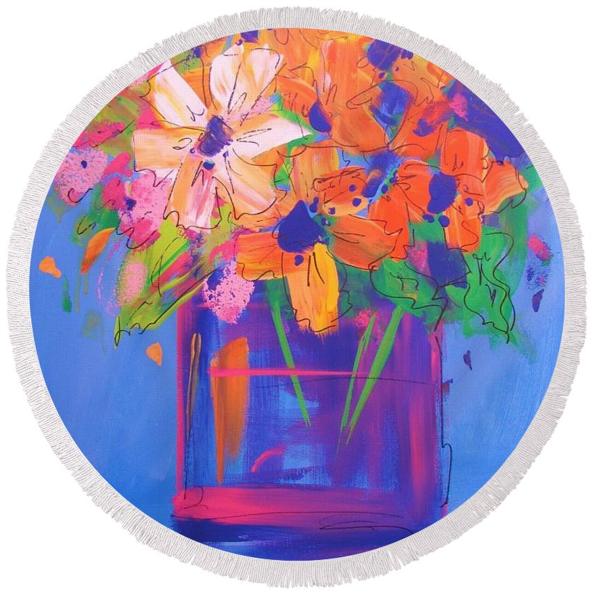 Abstract Round Beach Towel featuring the painting Loosey Goosey Flowers by Terri Einer