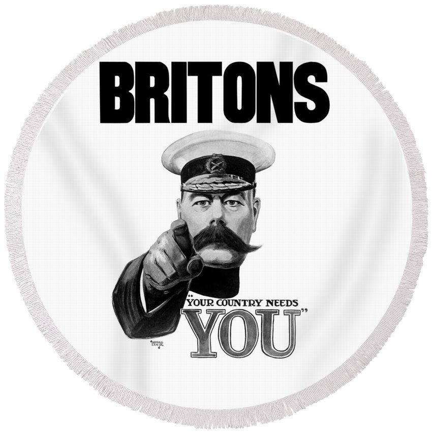 Wwi Round Beach Towel featuring the painting Lord Kitchener - Britons Your Country Needs You by War Is Hell Store