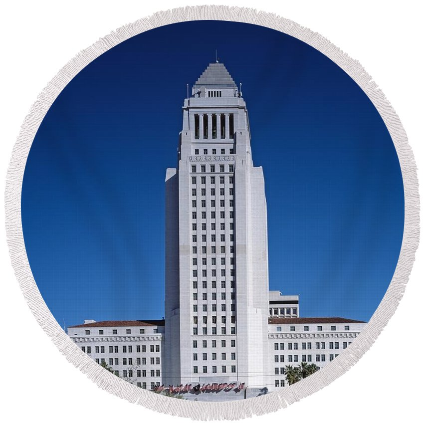 Los Angeles Round Beach Towel featuring the photograph Los Angeles City Hall by Mountain Dreams