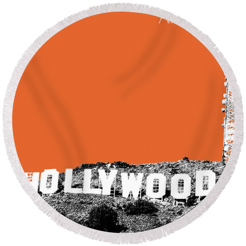 Architecture Round Beach Towel featuring the digital art Los Angeles Skyline Hollywood - Coral by DB Artist
