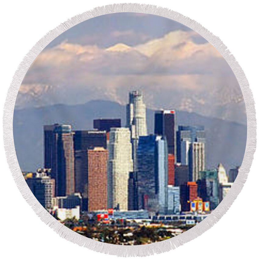 Los Angeles Skyline Round Beach Towel featuring the photograph Los Angeles Skyline with Mountains in Background by Jon Holiday