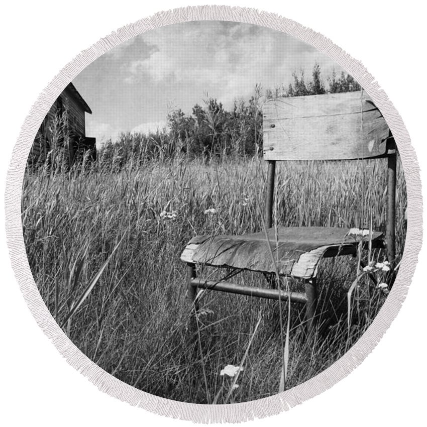 Chair Round Beach Towel featuring the photograph Lost Home by The Artist Project