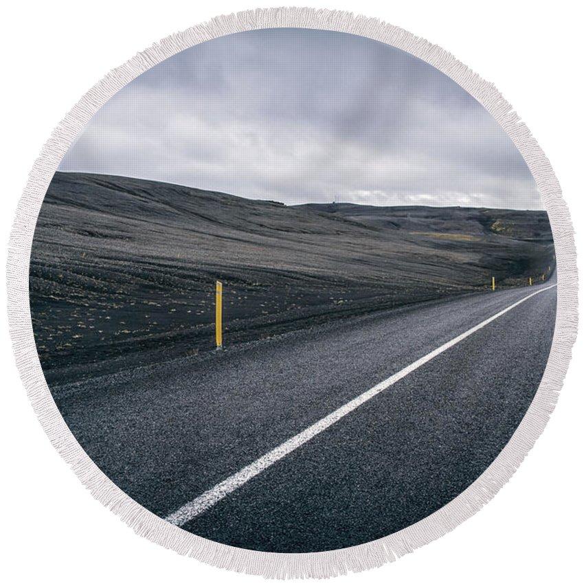 Landmannalaugar Round Beach Towel featuring the photograph Lost Highway by Evelina Kremsdorf