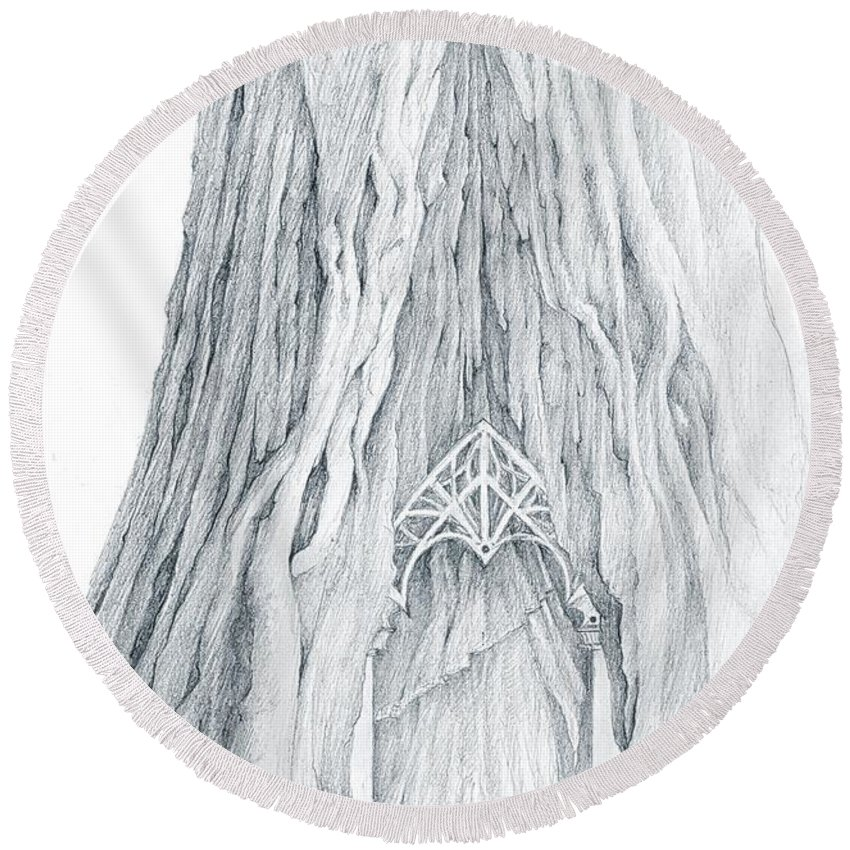 Lothlorien Round Beach Towel featuring the drawing Lothlorien Mallorn Tree by Curtiss Shaffer