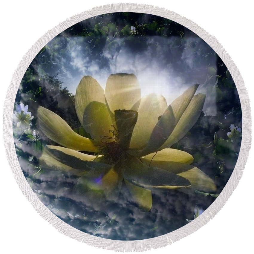 Lotus Round Beach Towel featuring the photograph Lotus L by Dale Crum