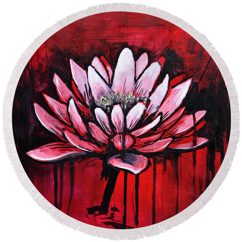 Lotus Round Beach Towel featuring the painting Lotus by Melissa Peterson