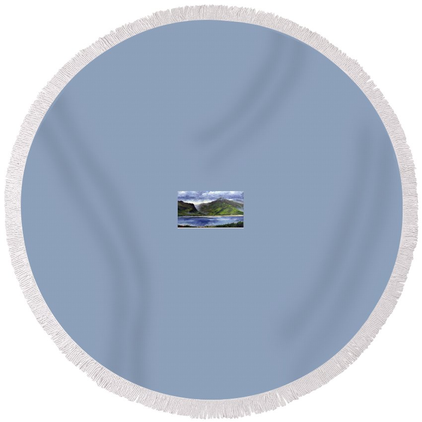 Irish Round Beach Towel featuring the painting Loughros Bay Ireland by Jim Gola