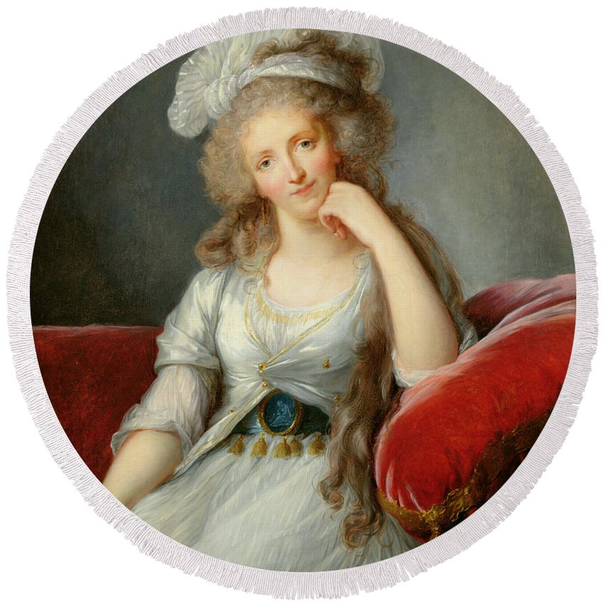 Female Round Beach Towel featuring the photograph Louise-marie Adelaide, Duchesse Dorleans Oil On Canvas See Also 91622 by Elisabeth Louise Vigee-Lebrun