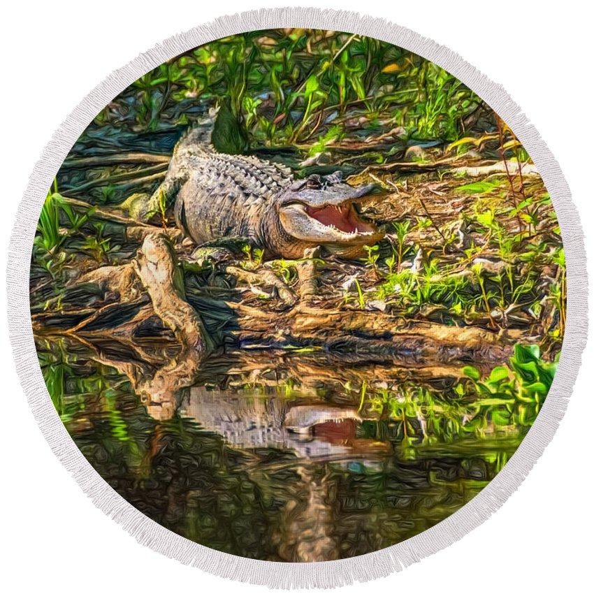 Gator Round Beach Towel featuring the photograph Louisiana Bayou 2 - Paint by Steve Harrington