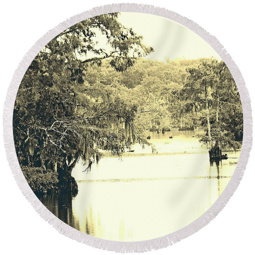 Cypress Round Beach Towel featuring the photograph Louisiana Chicot State Park by Lizi Beard-Ward