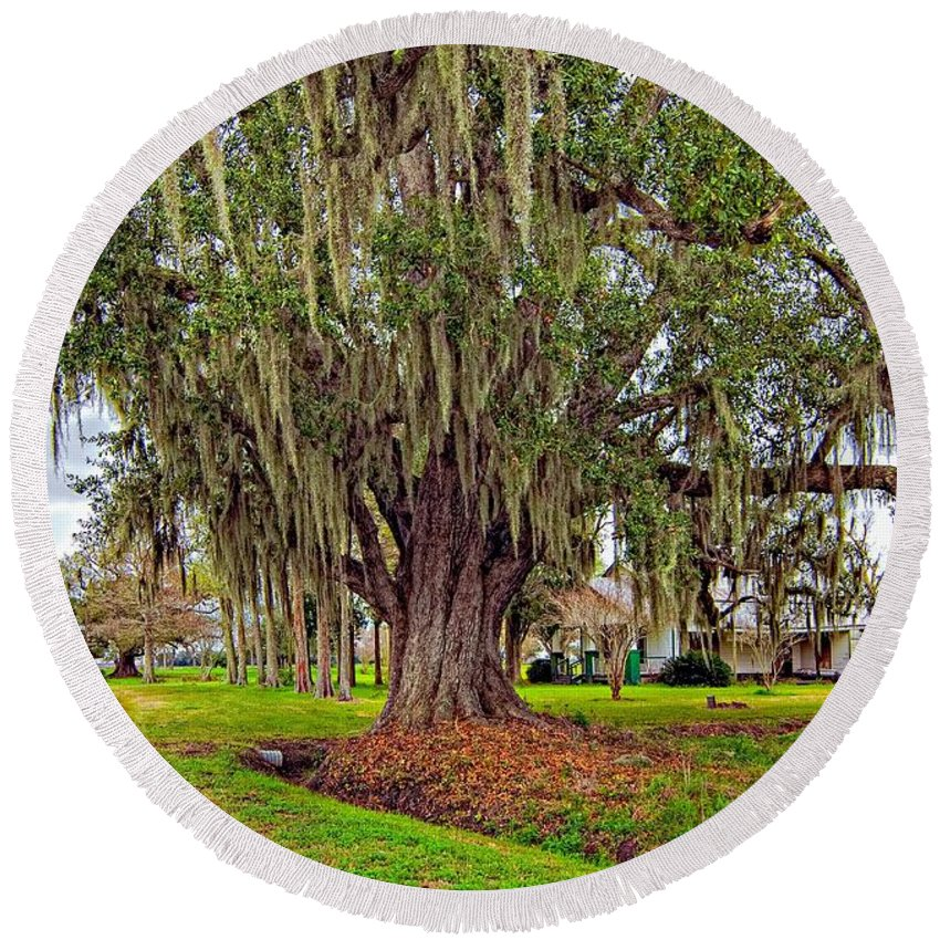 New Orleans Round Beach Towel featuring the photograph Louisiana Country by Steve Harrington