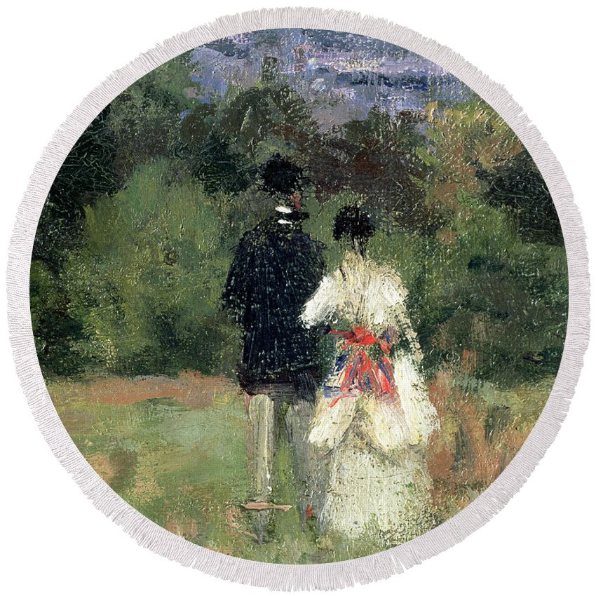 Landscape Round Beach Towel featuring the painting Louveciennes, Detail Of Lovers by Camille Pissarro