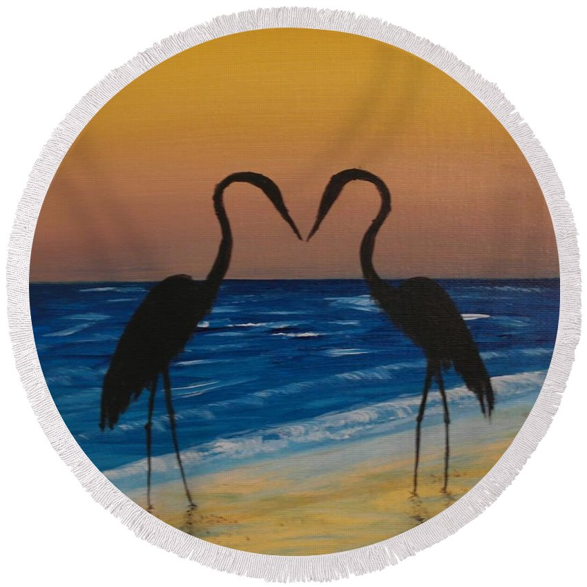 Beach Round Beach Towel featuring the painting Love Birds by Wayne Cantrell