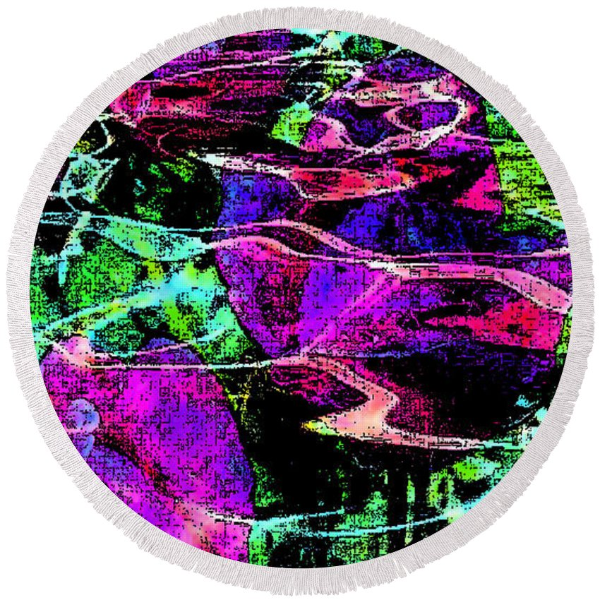 Digital Art Abstract Round Beach Towel featuring the digital art Love Ever Gives by Yael VanGruber