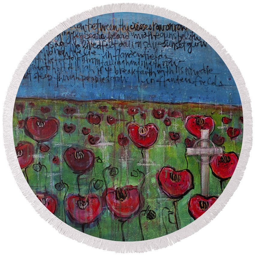 Poppies Round Beach Towel featuring the painting Love For Flanders Fields Poppies by Laurie Maves ART
