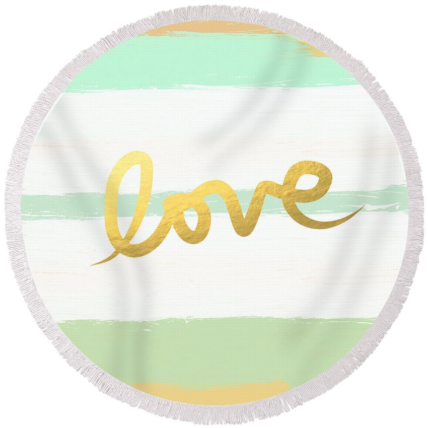 Love Round Beach Towel featuring the painting Love in Mint and Gold by Linda Woods
