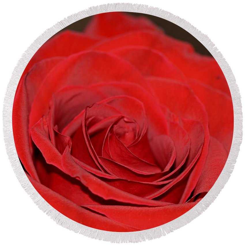 Red Round Beach Towel featuring the photograph Love by Lena Photo Art