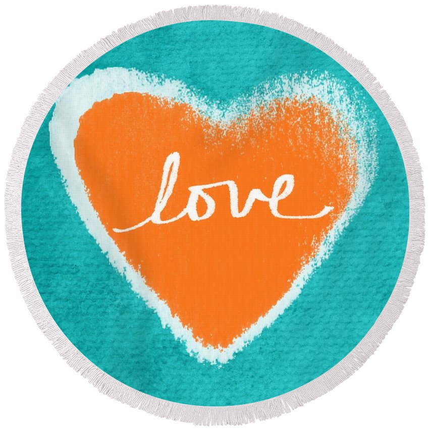 Heart Round Beach Towel featuring the mixed media Love by Linda Woods