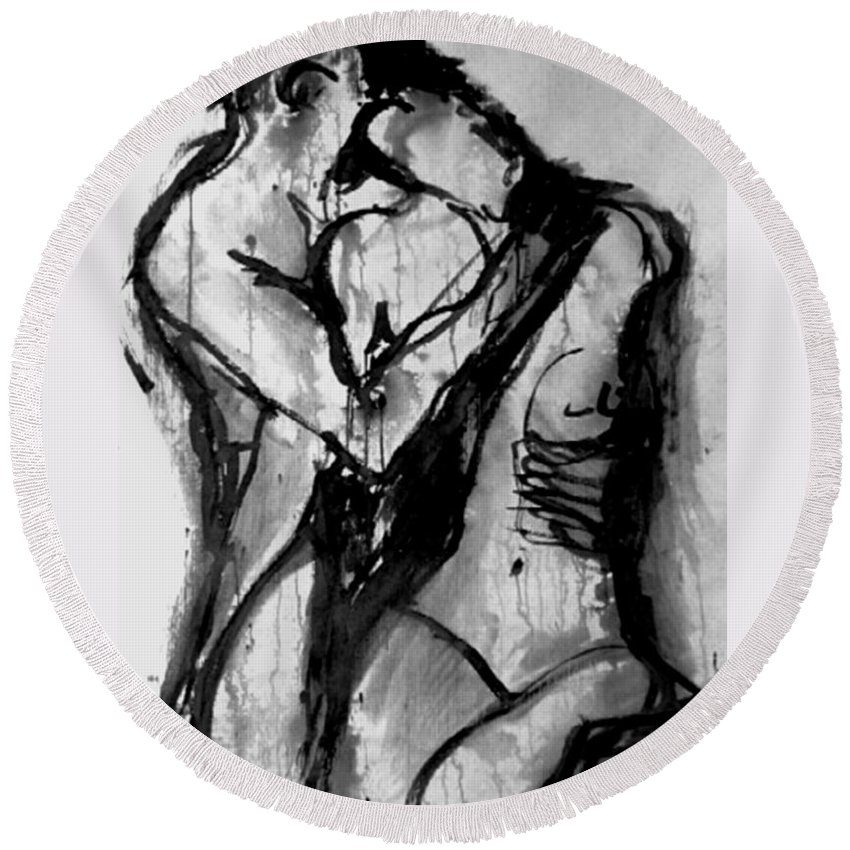 Couple Round Beach Towel featuring the painting Love Me Tender by Jarmo Korhonen aka Jarko