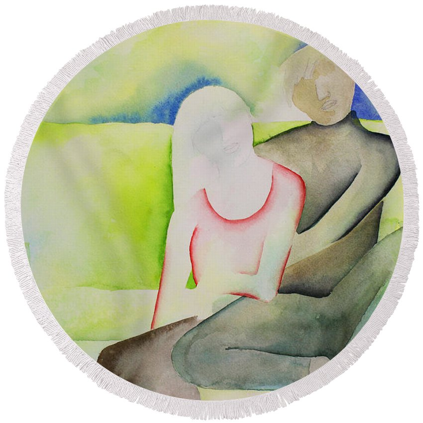 Intimacy Round Beach Towel featuring the painting Sofa by Shannan Peters