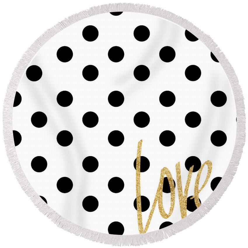 Love Round Beach Towel featuring the digital art Love With Dots by South Social Studio
