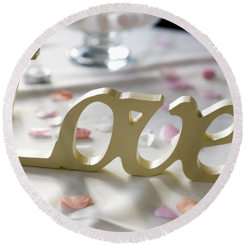 Love Round Beach Towel featuring the photograph Love Word At A Wedding by Lee Avison
