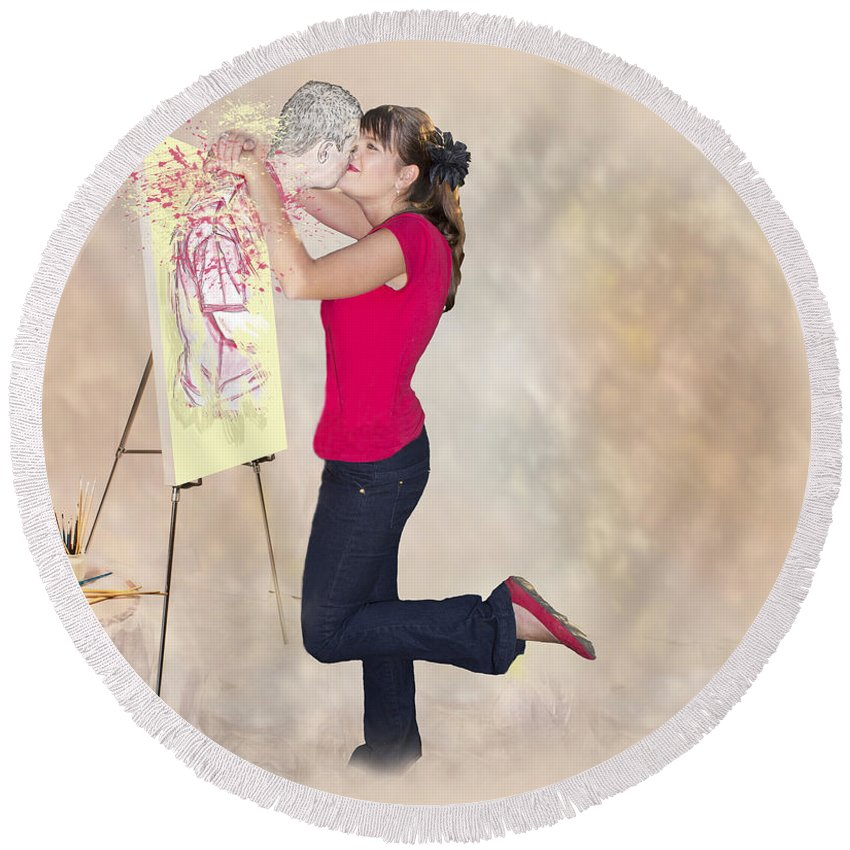 Drawing Round Beach Towel featuring the photograph Love Your Art by Ronel Broderick