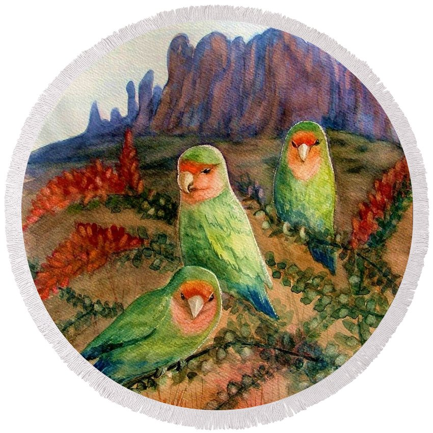 Birds Round Beach Towel featuring the painting Lovebirds by Marilyn Smith