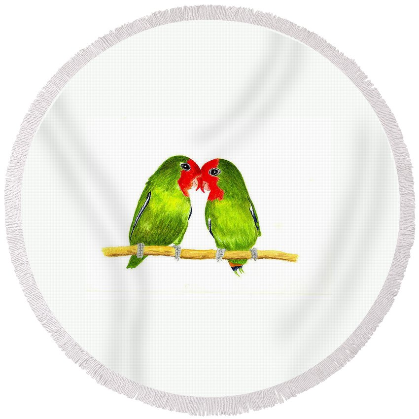 Birds Round Beach Towel featuring the painting Lovebirds by Michael Vigliotti