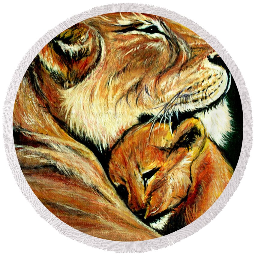 Lion Round Beach Towel featuring the painting Loved by Adele Moscaritolo