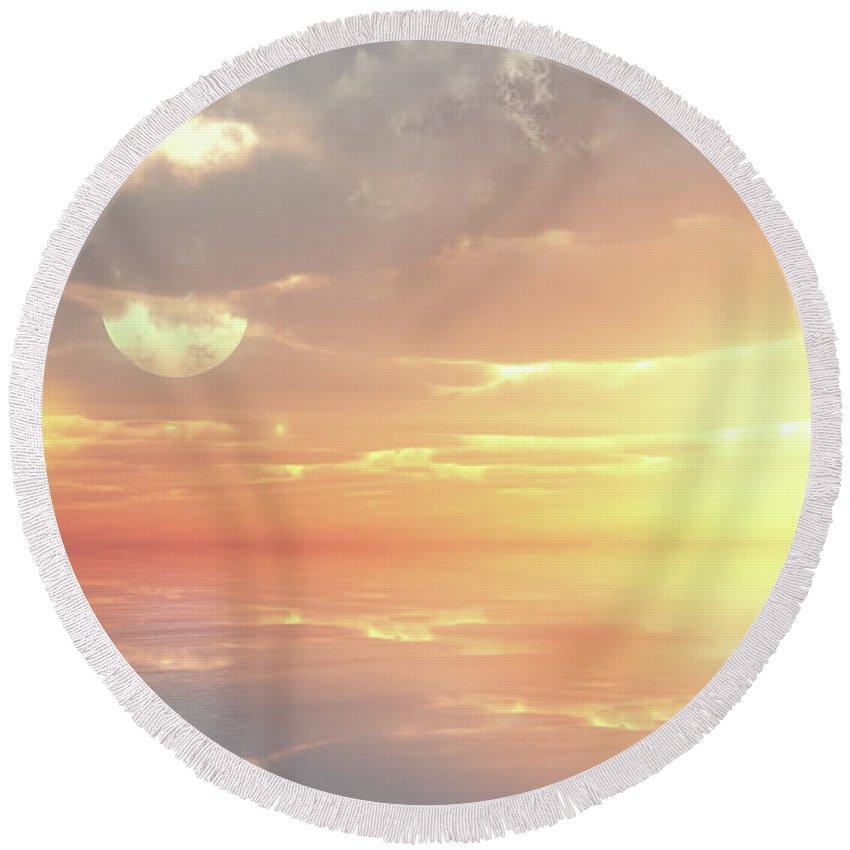 Sunset Round Beach Towel featuring the digital art Lovers Ocean by Georgiana Romanovna